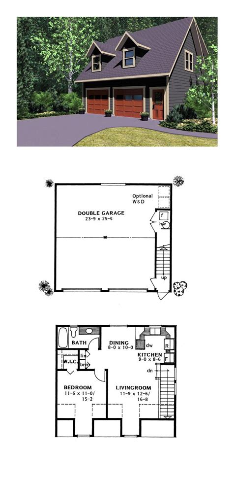 detached garage floor plans garage apartment plan 96220 total living area 654 sq