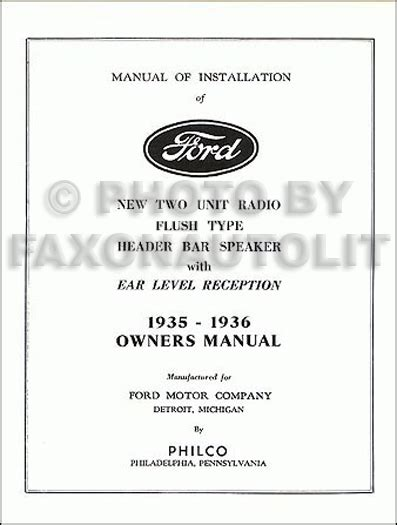 ford philco radio owners  installation