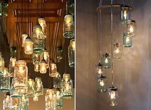 decoration recup lampes faites a partir de bocaux en verre With idee deco cuisine avec objet deco en verre