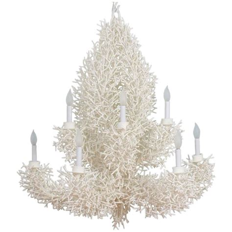 Coral Chandelier by Large White Faux Coral Chandelier At 1stdibs