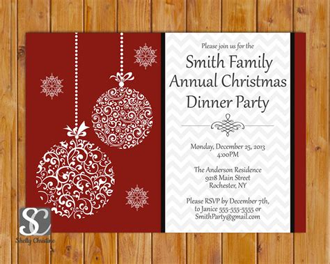 christmas dinner celebration annual party invitation by scadesigns
