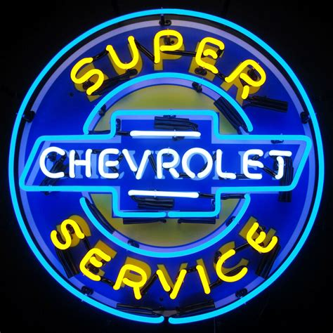 Chevrolet Neon Sign by Neon Sign Chevrolet Service Chevy Parts Wall L
