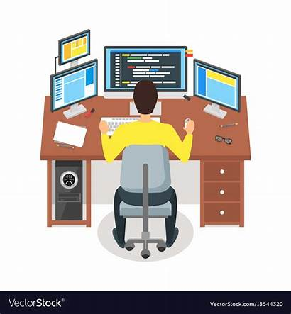 Programmer Cartoon Workspace Code Writes Concept