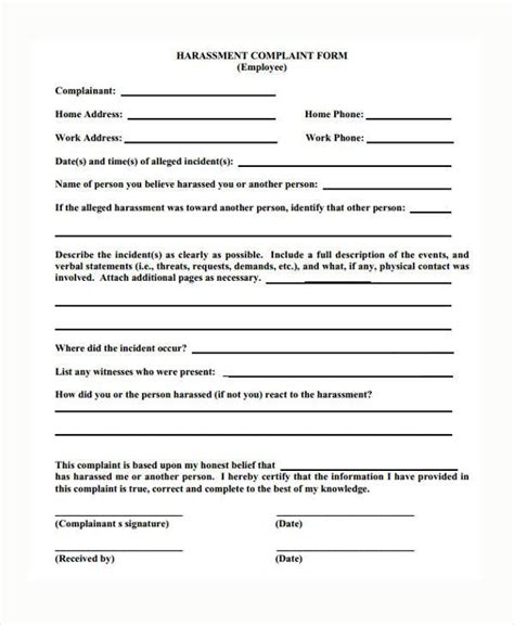 workplace harassment policy template sle harassment complaint forms 8 free documents in word pdf