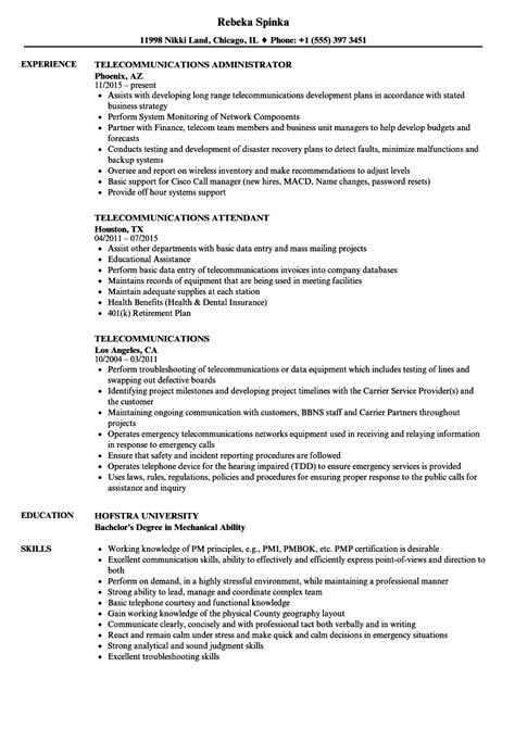 telecommunications resume samples velvet jobs