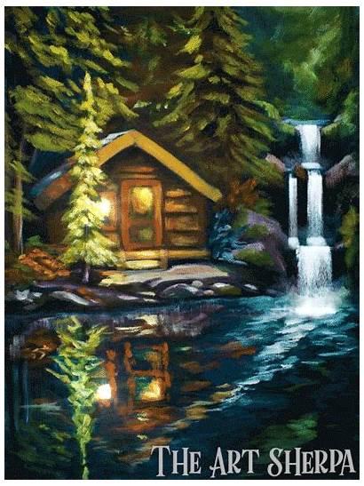 Acrylic Sherpa Waterfall Cabin Paint Lake Painting