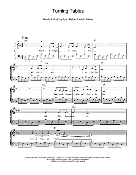 turning tables sheet music turning tables sheet music by adele beginner piano 110935