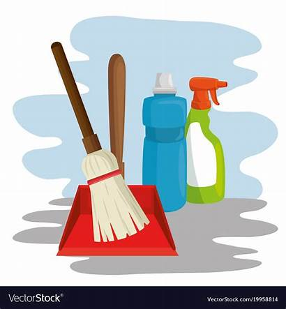 Cleaning Broom Supplies Dustpan Spray Vector Dust