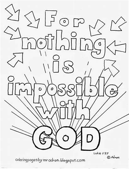 Coloring God Pages Bible Nothing Impossible Luke
