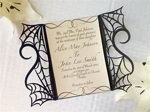 Gothic spider web halloween wedding invitation laser cut for Laser cut halloween wedding invitations