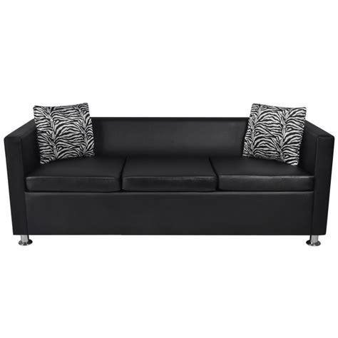 Black Settee by Black Artificial Leather 3 Seater Sofa Www Vidaxl Au