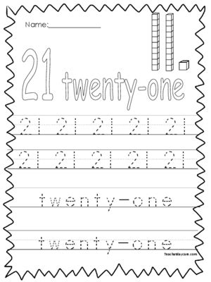 collection of number 21 worksheets bluegreenish