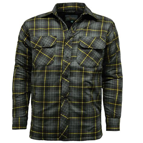 mens padded lumber jack shirt check quilted thick fleece lined workwarm winter ebay