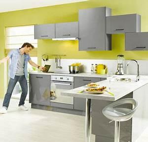 deco cuisine vert et gris With idee deco cuisine avec cuisine gris et vert