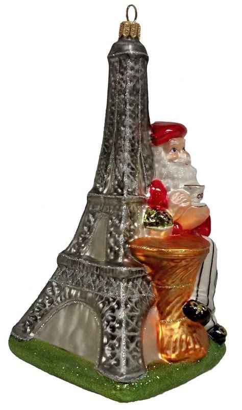 french santa  eiffel tower polish glass christmas