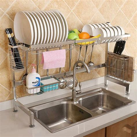 awesome double kitchen sink ideas  dish rack design decor