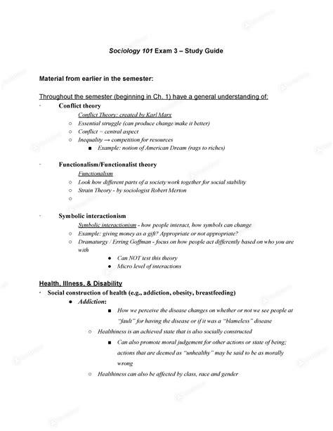 SOC 101 Final Exam Study Guide Sociology Exam Study Guide
