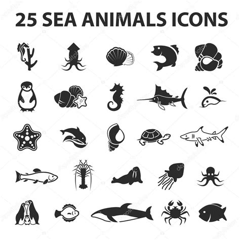 Sea, Animal, Fish 25 Black Simple Icons New Collection Of