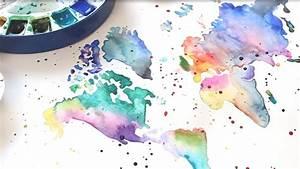 Malen Mit Wasserfarben : weltkarte malen modernes aquarell youtube ~ Orissabook.com Haus und Dekorationen