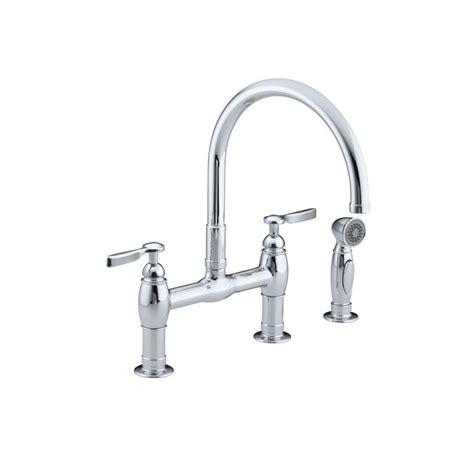 buying a kitchen faucet kohler parq 2 handle bridge kitchen faucet with side