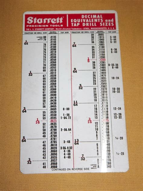vintage starrett precision tools tap drill sizes    reference card ebay
