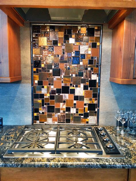 fused glass mosaic patchwork kitchen backsplash designer