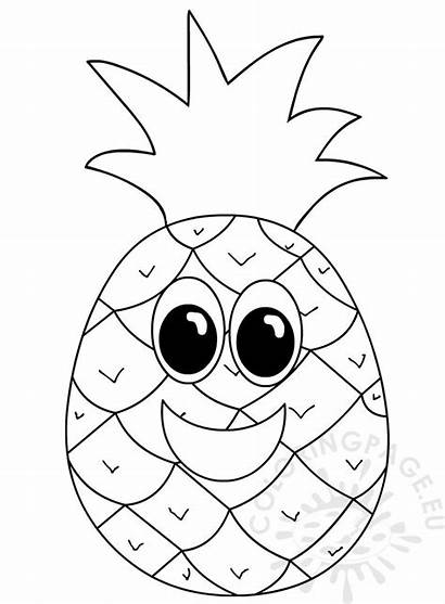 Pineapple Face Fruit Smiling Coloring Cartoon Apple