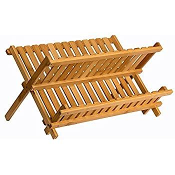 buy sagler wooden dish rack plate rack collapsible compact dish drying rack bamboo dish drainer