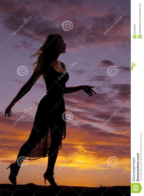 woman silhouette  sideways stock photo image