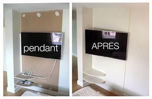 Meuble Tv Accroché Au Mur : comment cacher les fils de la tv accroch e au mur recherche google cacher sa t l ~ Melissatoandfro.com Idées de Décoration