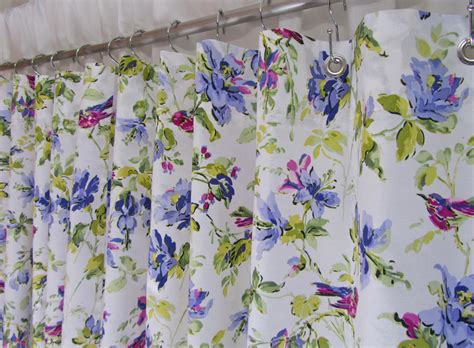 Lilac Fabric Shower Curtain Purple Floral By