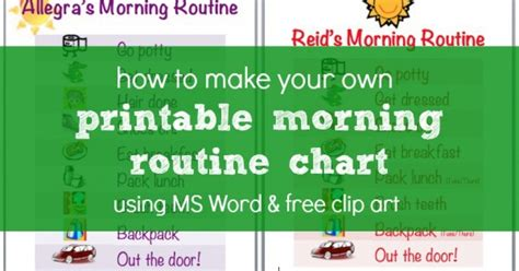 How To Make A Morning Routine Chart Using Ms Word & Free Clip Art