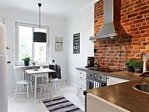 25 exposed brick wall designs defining one of latest for Kitchen cabinet trends 2018 combined with papier peint scandinave