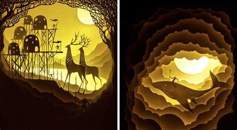 paper cut light box light box paper cut dioramas fubiz media
