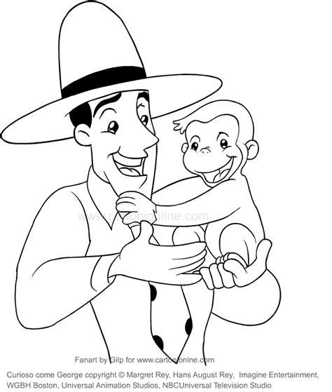 disegni da colorare di george disegno di george e l uomo dal cappello giallo curioso