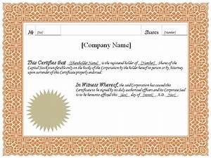 formatted stock certificate templates certificate templates With template for share certificate