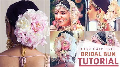 anushka sharma wedding hairstyle step  step floral bun