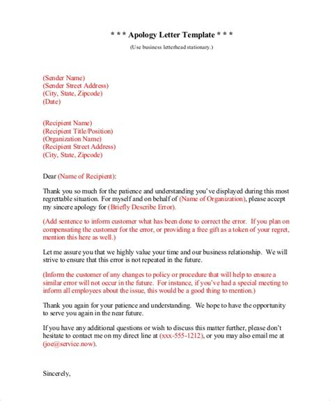 sample sincere apology letter  documents  word
