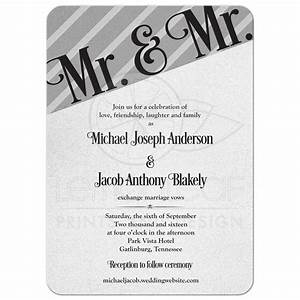 gay wedding invitation silver black mr and mr With free printable gay wedding invitations
