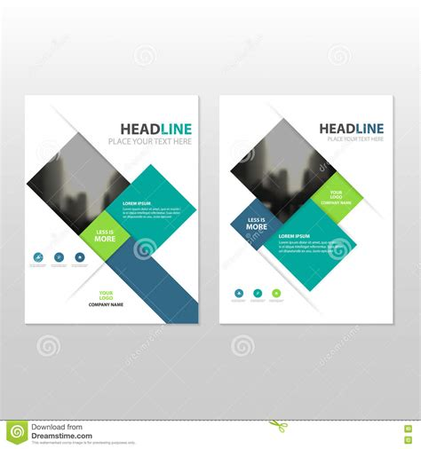 Blue And Green Vector Brochure Flyer Design Template Blue Green Square Vector Annual Report Leaflet Brochure