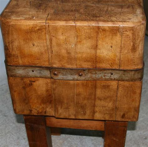 Antique Vintage Small Swedish Butcher Block, Circa 1920 At