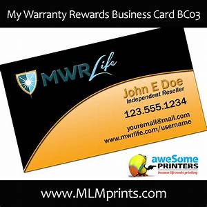 My warranty rewards business cards for My business card