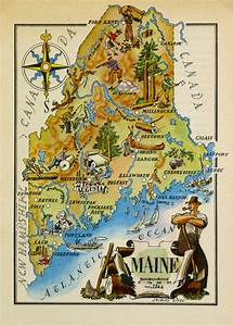 Maine Pictorial Map  1946