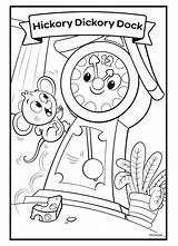 Hickory Dickory Dock Coloring Nursery Rhymes Crayola Princess Disney Mouse sketch template