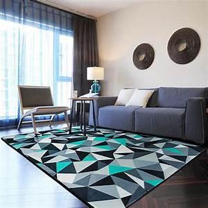 bleu et gris tapis 100150 cm moderne geometrique alfombra With tapis décoratif salon