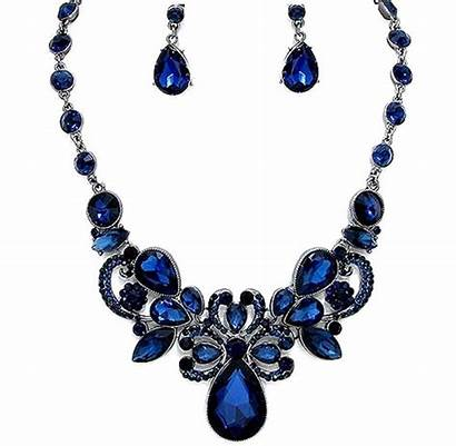 Crystal Navy Jewelry Necklace Prom Elegant Pageant