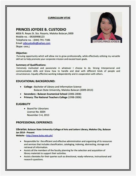 How To Write A Simple Resume Format by Create A Simple Resume Resume Template Cover Letter