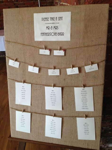 wedding table ideas table plan in hessian our day 14 02 2015