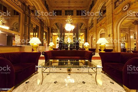 Luxury Hotel Lobby With Columns Stock Photo - Download ...