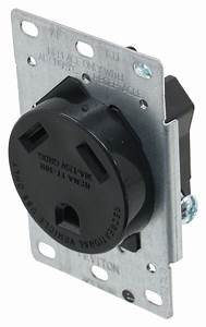 Rv Outlet Receptacle With Mounting Plate - 30 Amp